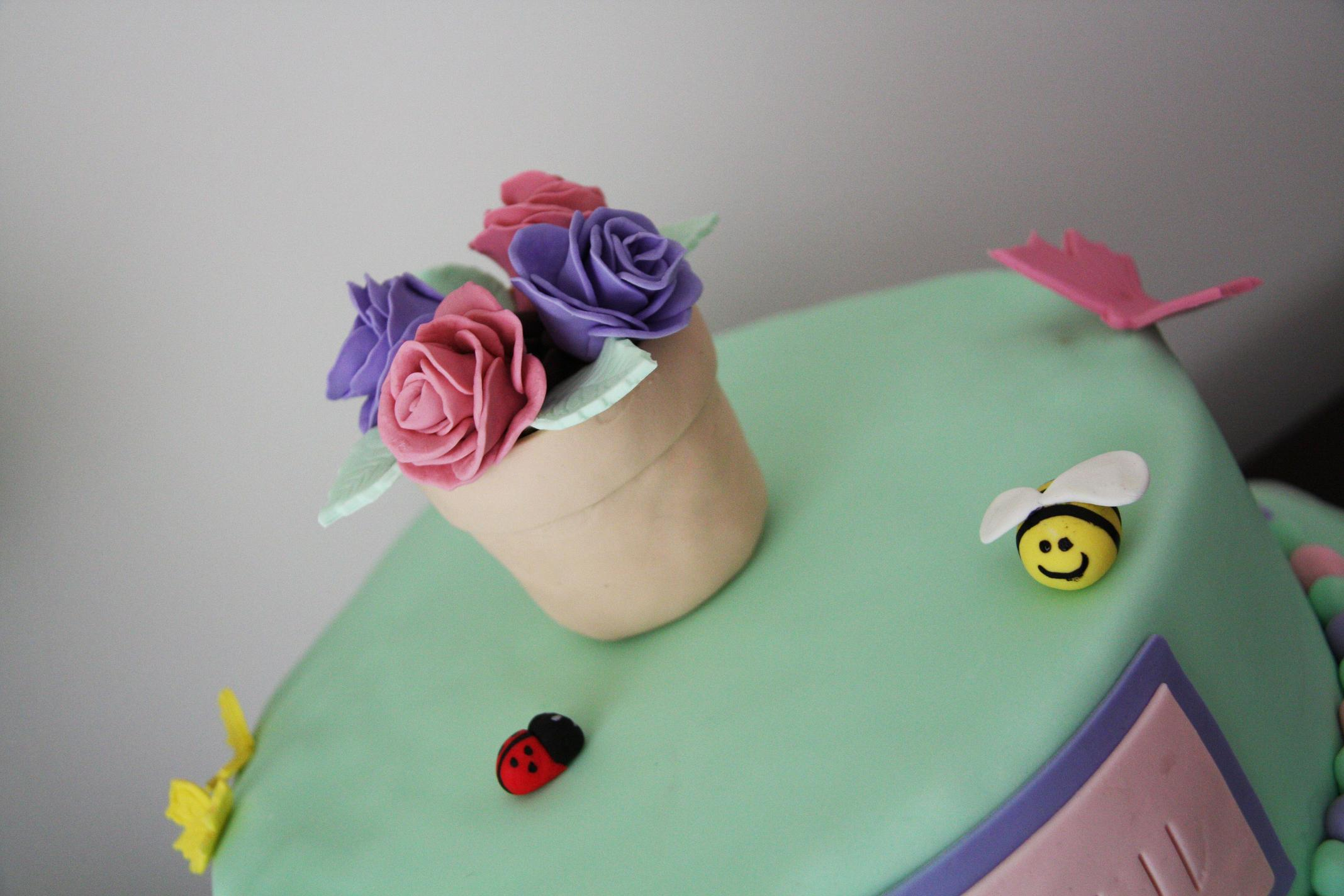 Flower pot birthday cake i had originally planned to make the sides of the cake more of a garden with grass and flowers but thought it would end up too busy so i just used a izmirmasajfo