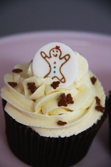 Gingerbread Cupcakes with edible disc toppers |